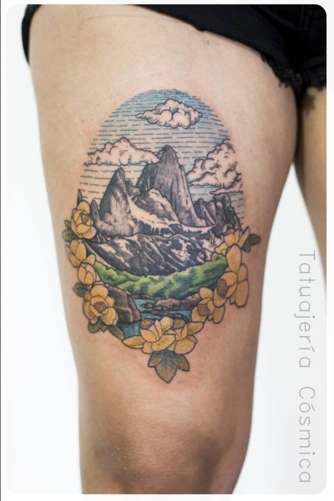 Wonderful mountain landscape tattoo