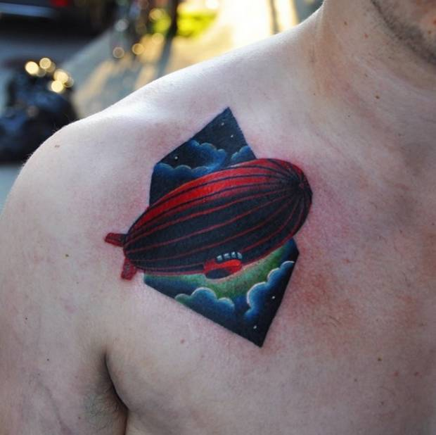 Zeppelin tattoo on the chest