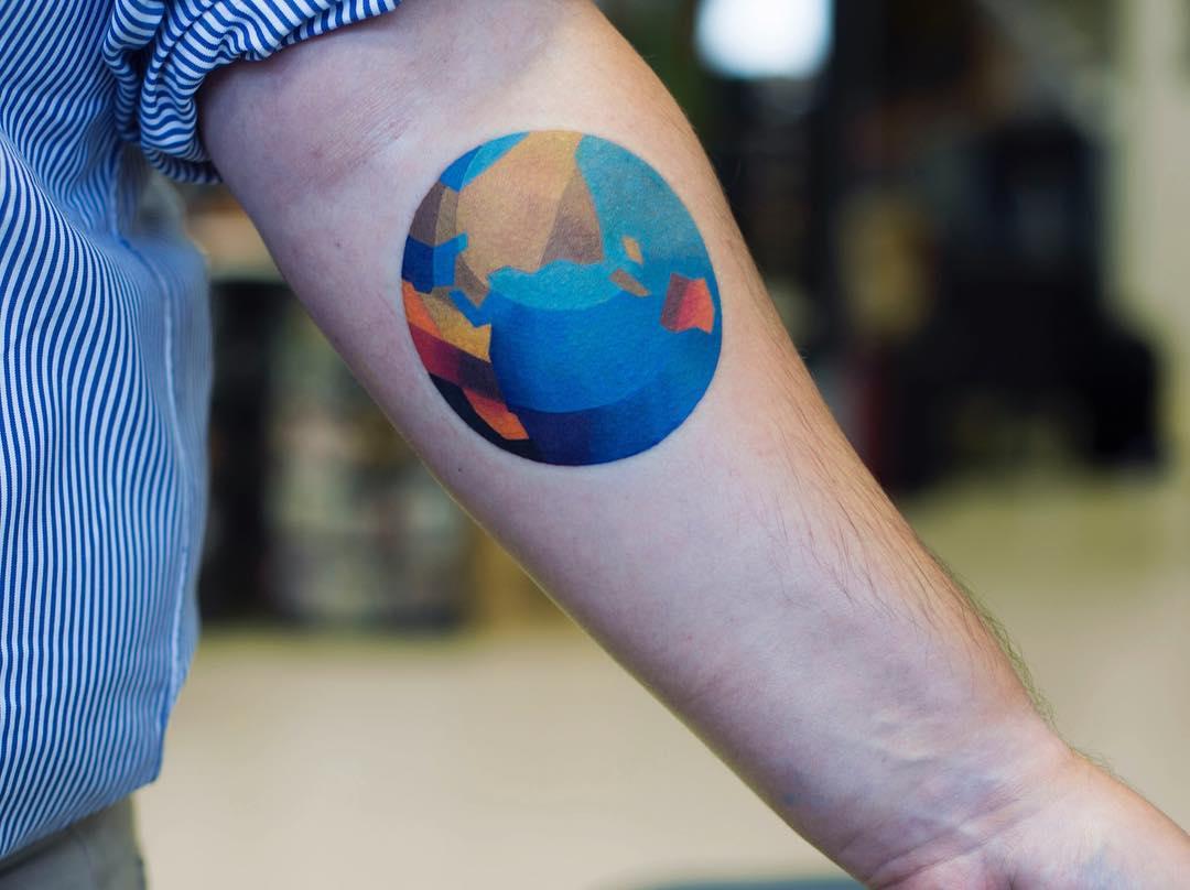 Abstract earth tattoo by sasha unisex