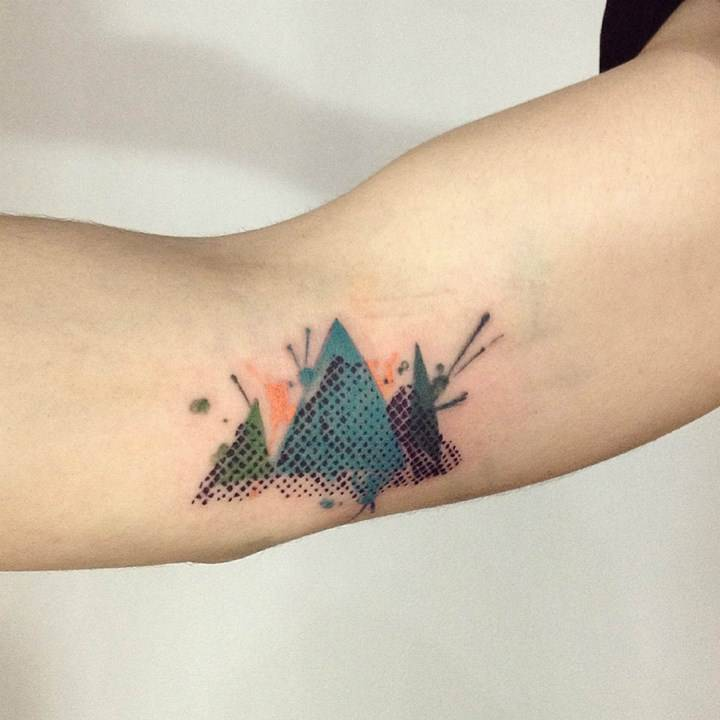 Abstract mountains on the forearm