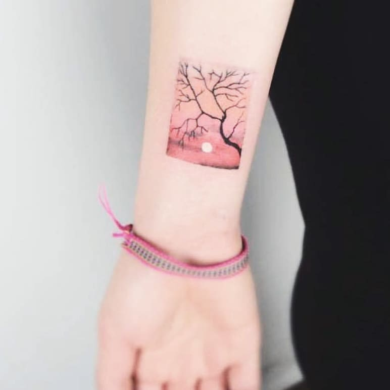 Aesthetic sunrise tattoo