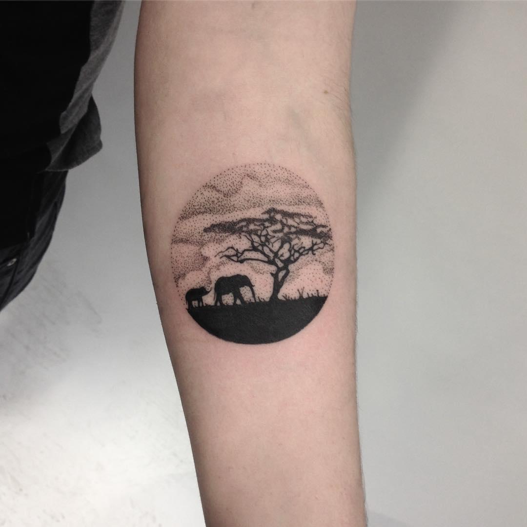 African Landscape Tattoo