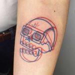 Anaglyph skull tattoo by Winston The Whale