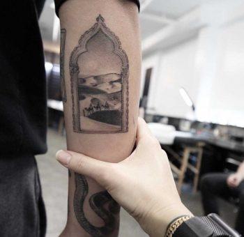 Arabic landscape tattoo
