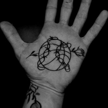 Basketball ball and rose tattoo by Berkin Donmezz