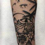 Beach scenery tattoo by Jeroen Van Dijk
