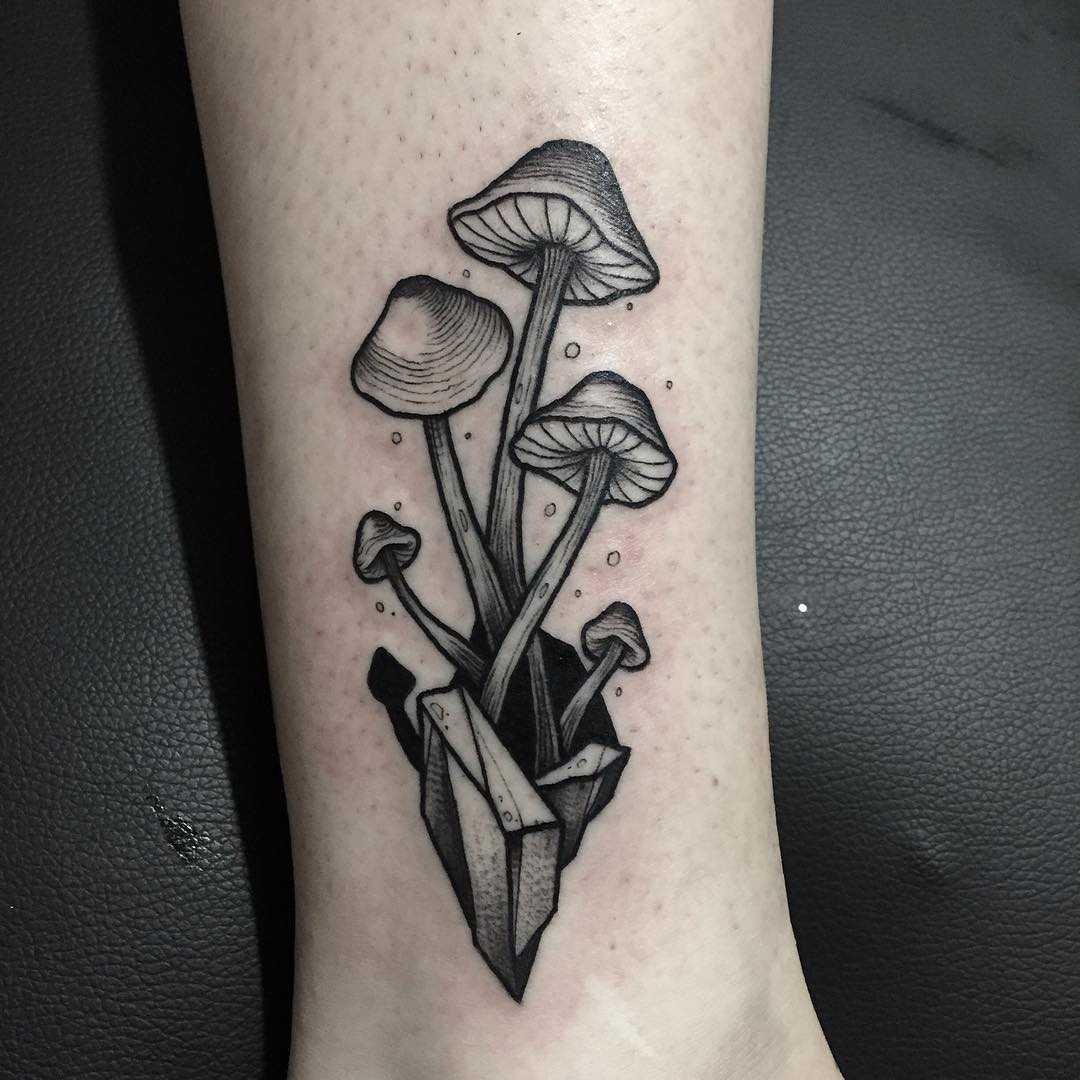 Blackwork magic mushrooms tattoo