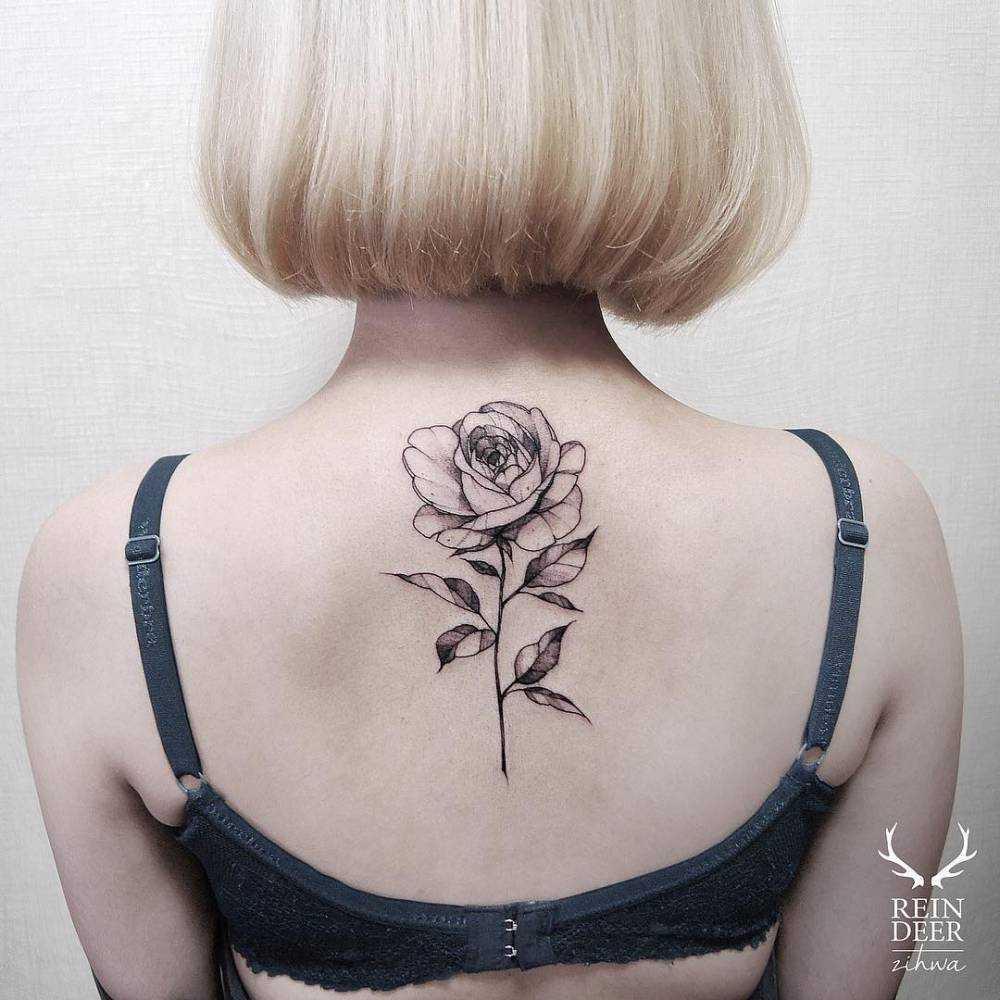 Blackwork rose tattoo on the upper back