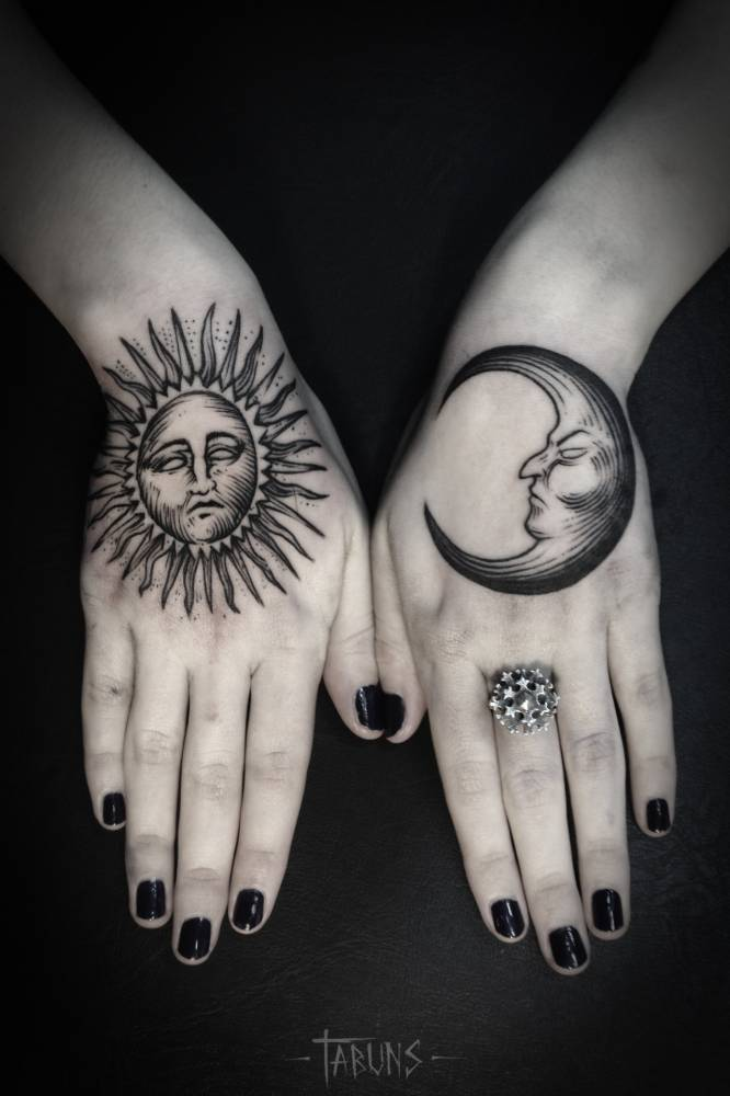 Blackwork sun and moon matching tattoos