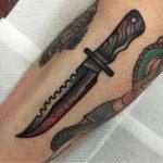 Bloody knife tattoo by jeroen van dijk