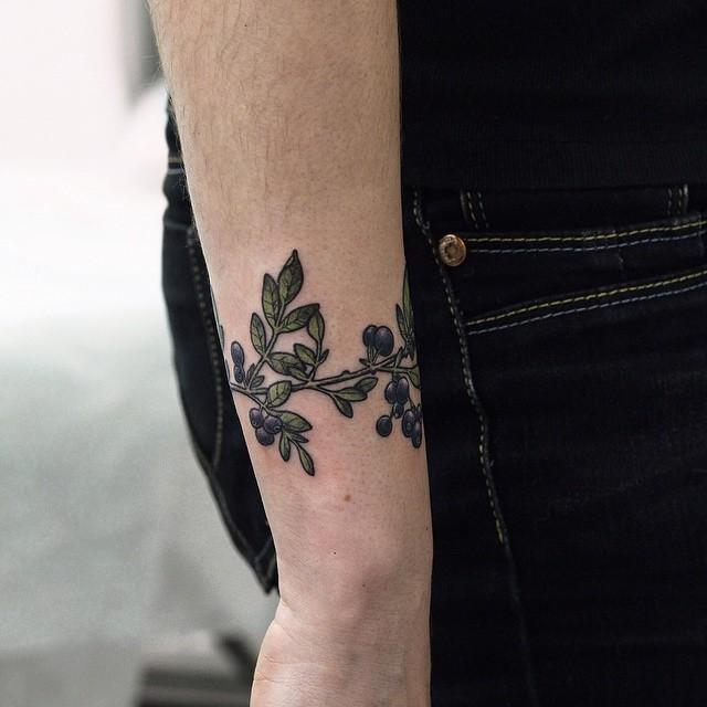Blueberry wristband tattoo