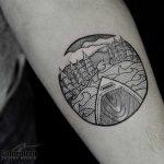 Canoe and landscape tattoo by Jon J Mo