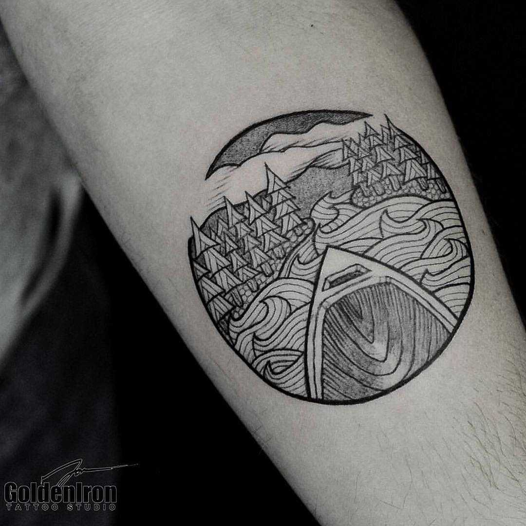 Canoe and landscape tattoo by Jon J Mo