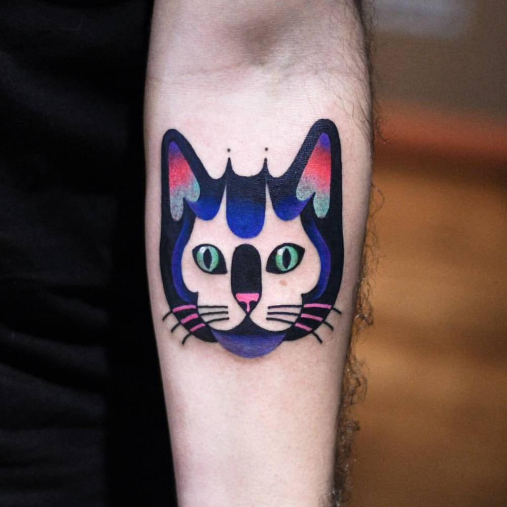 Cat face tattoo by David Côté