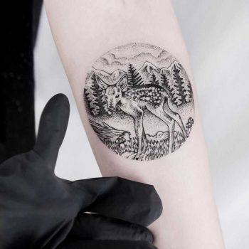 Circular landscape with a deer by Dogma Noir