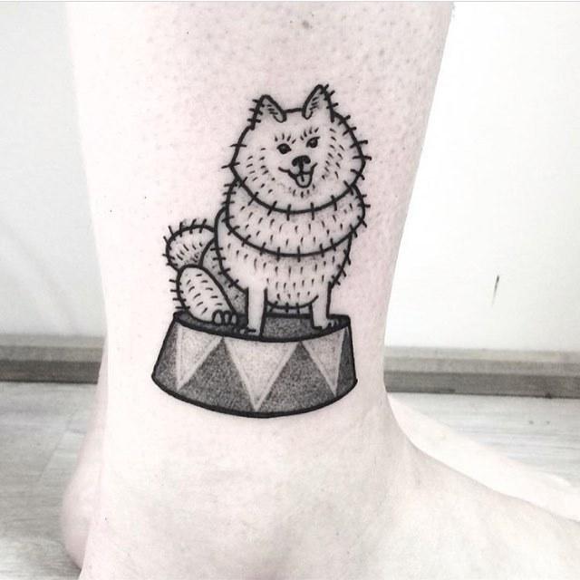 Circus dog tattoo by dorca borca