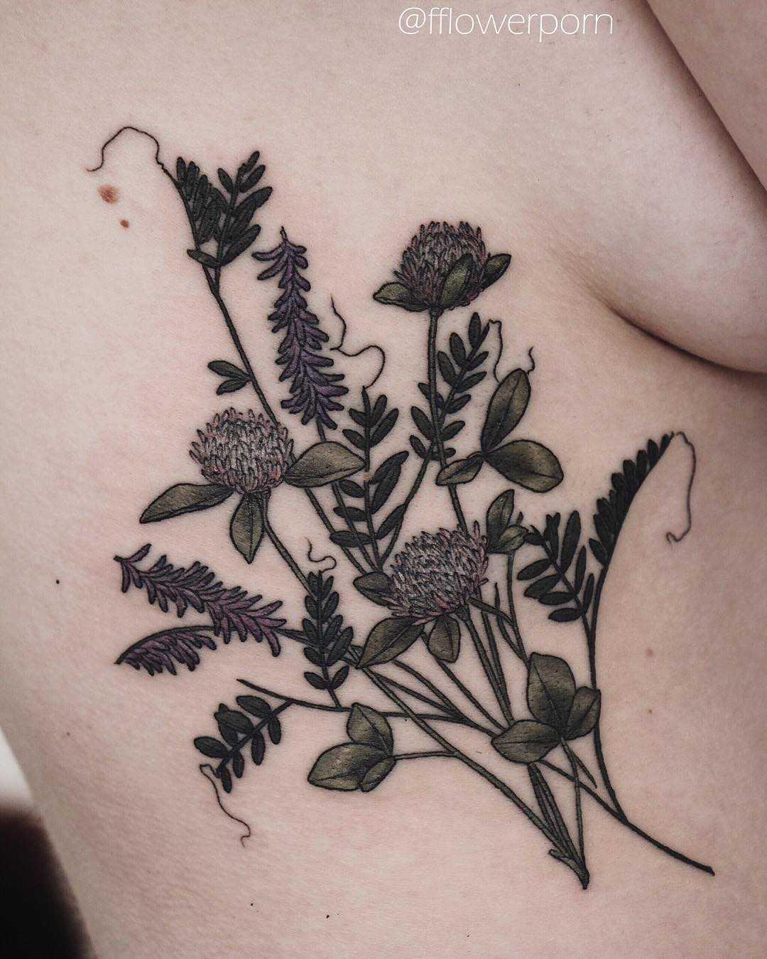 Clover and wild vetch tattoo