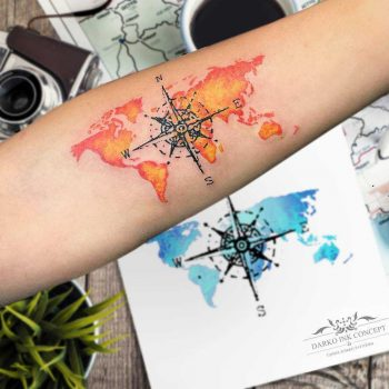 Compass and world map by Tansel Darko