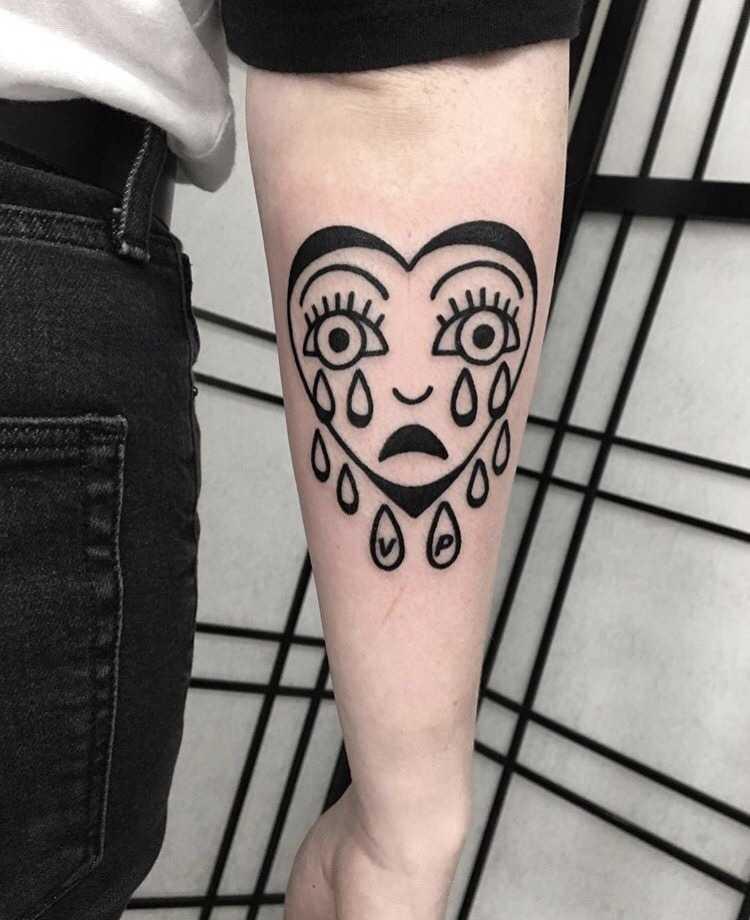 Crying heart tattoo by Mr.Preston