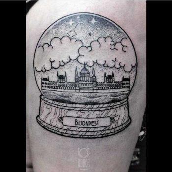 Crystal ball Budapest tattoo by Dorca Borca