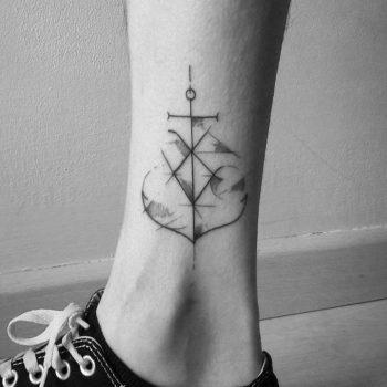 Custom anchor tattoo on the calf
