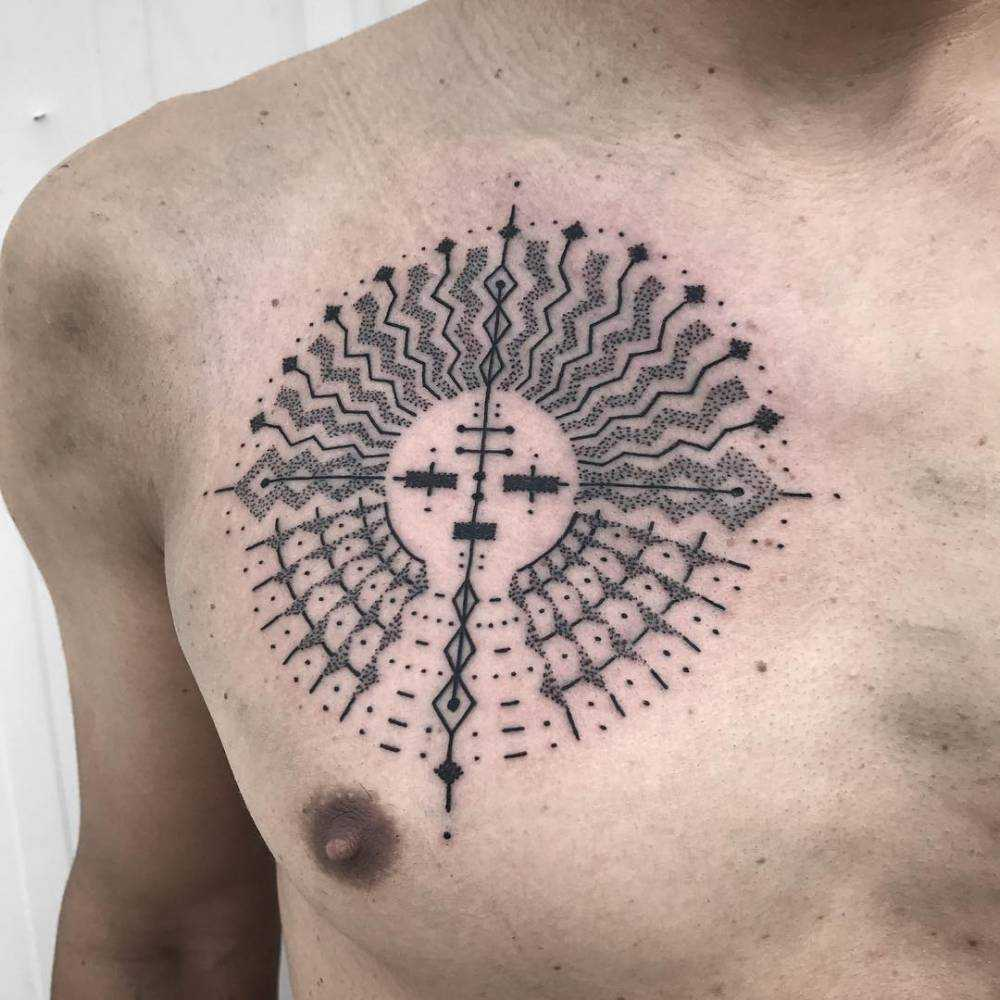 Custom sun tattoo by Kris Davidson