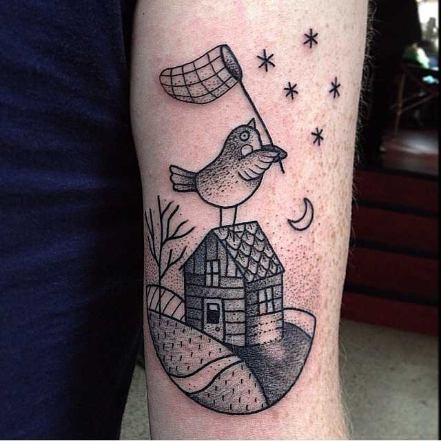 Cute bird tattoo by Susanne König Suflanda