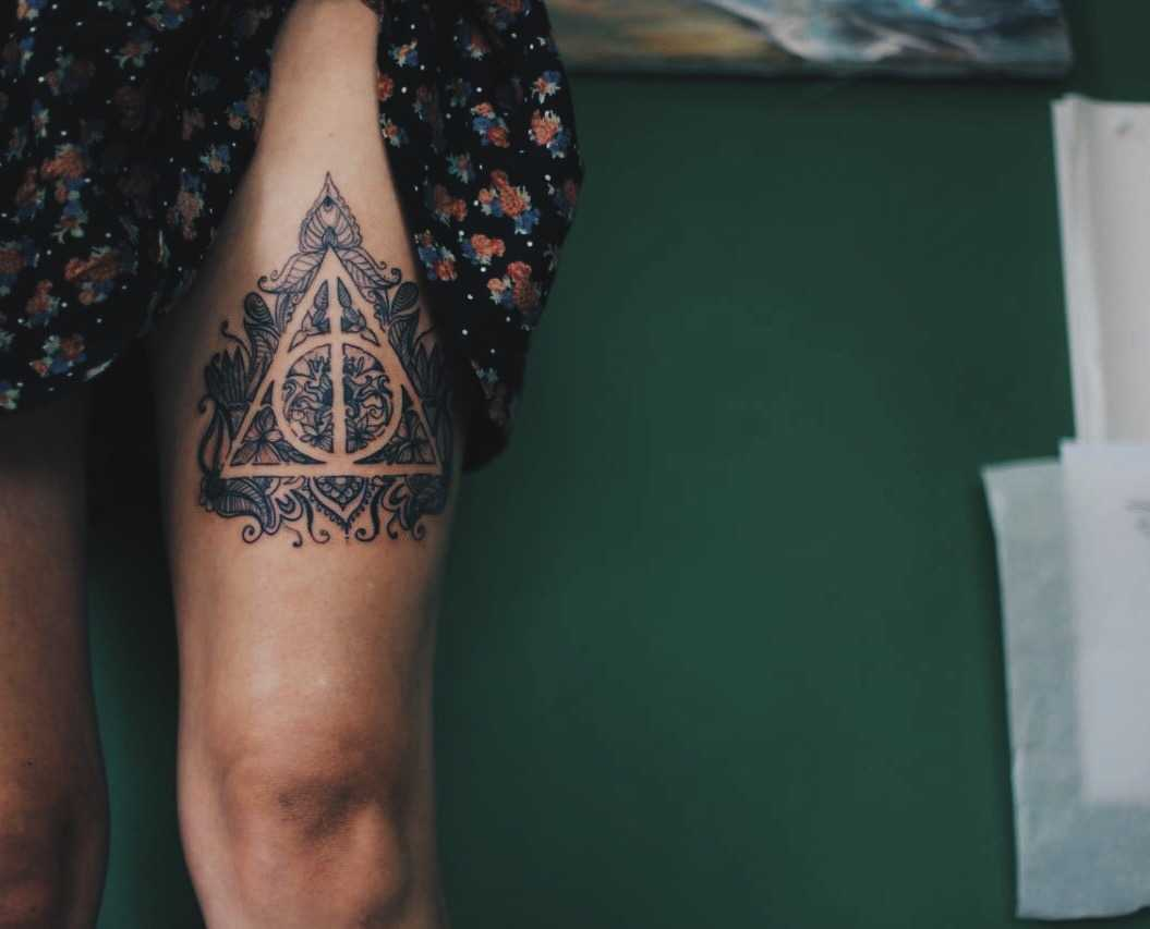 Deathly Hallows Tattoo On The Thigh Tattoogrid Net
