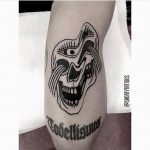 Distorted skull tattoo by Ana