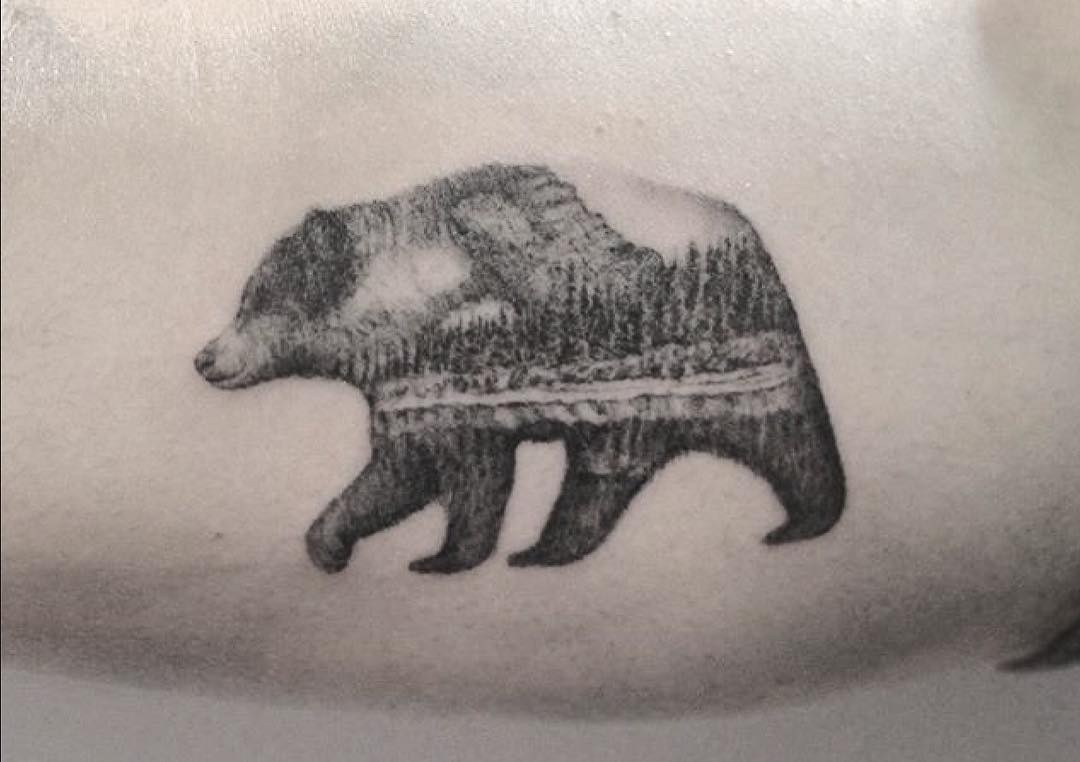 Double exposure bear and forestry tattoo by Lindsay April
