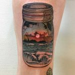 Double exposure jar and landscape tattoo