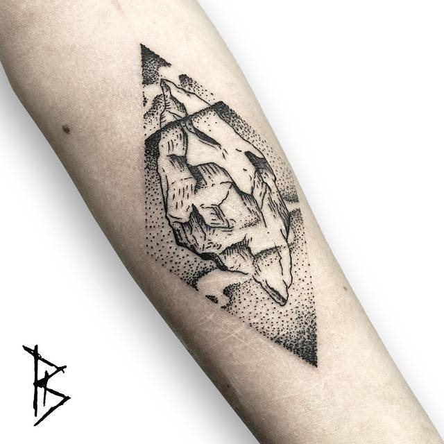 Engraving style iceberg tattoo