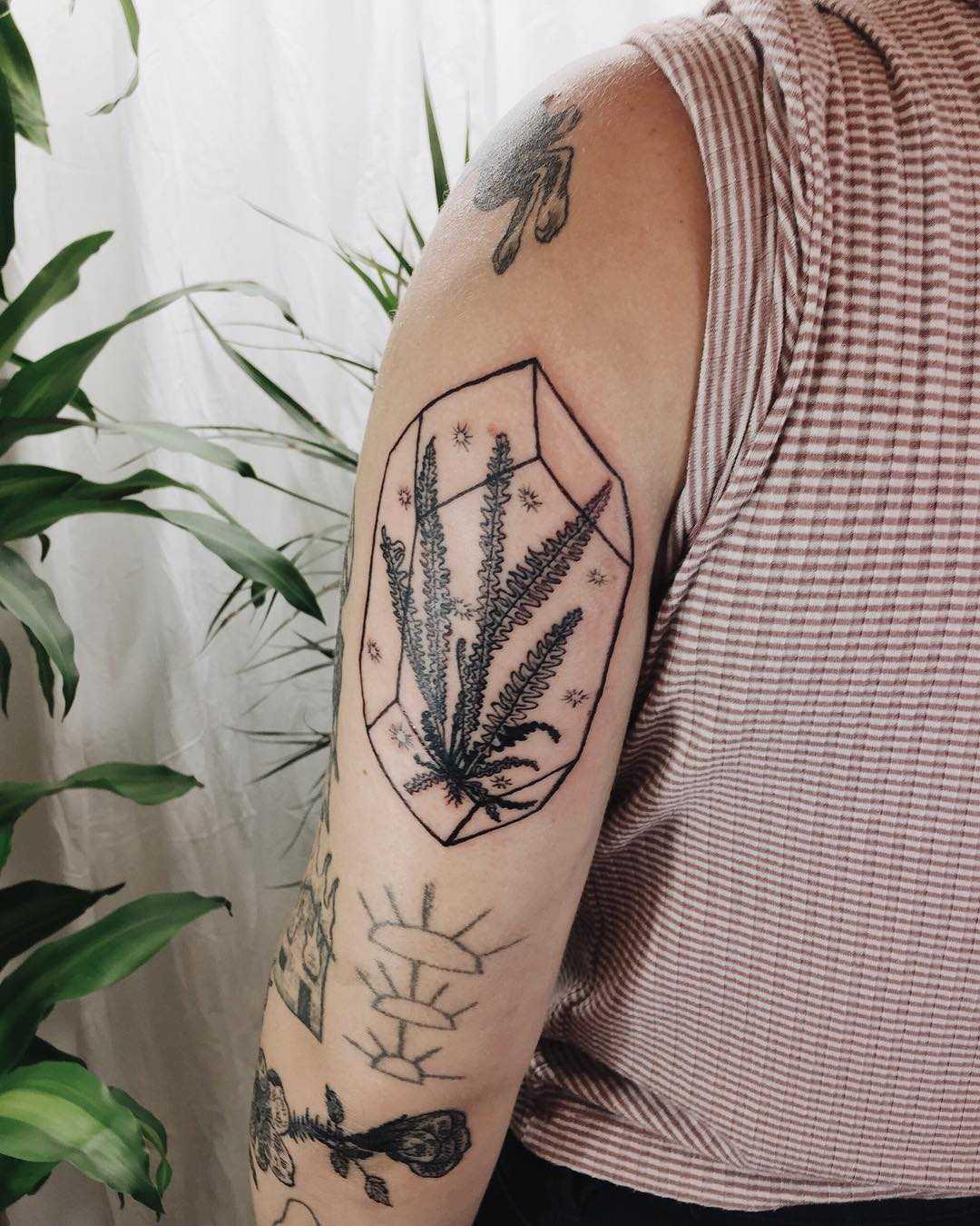 Fern in terrarium tattoo