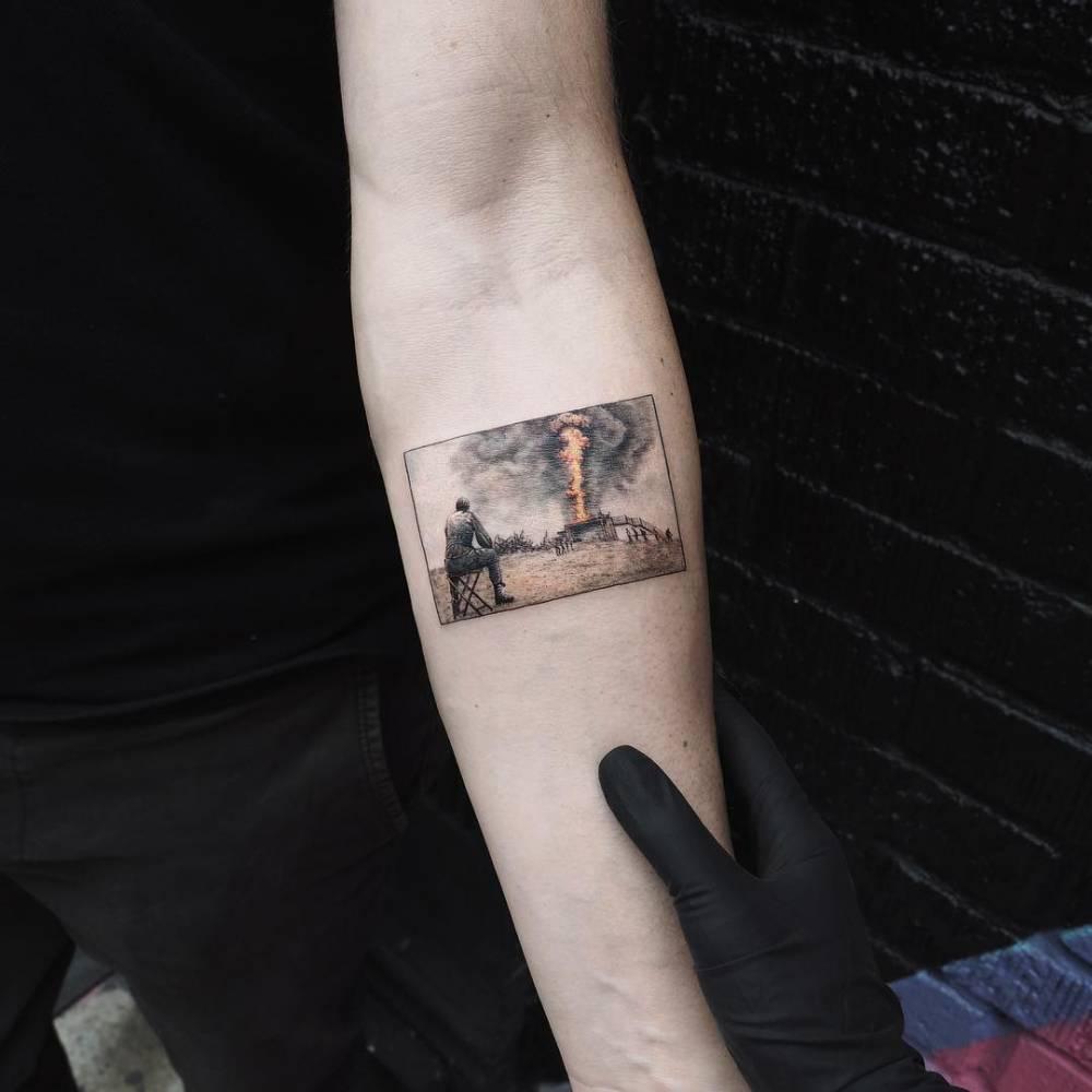 Fire scenery tattoo by eva krbdk