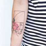Floral golden ratio tattoo
