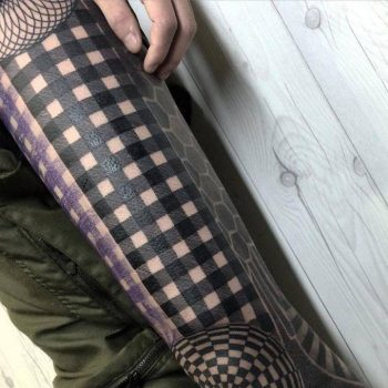 Gingham pattern tattoo
