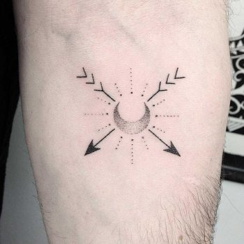 Hand-poked crescent moon and arrows