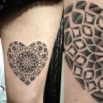 Heart-shaped mandala tattoo by Saskia Viney