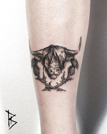 Highland cattle tattoo