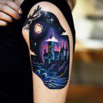Hogwart's tattoo on the left arm