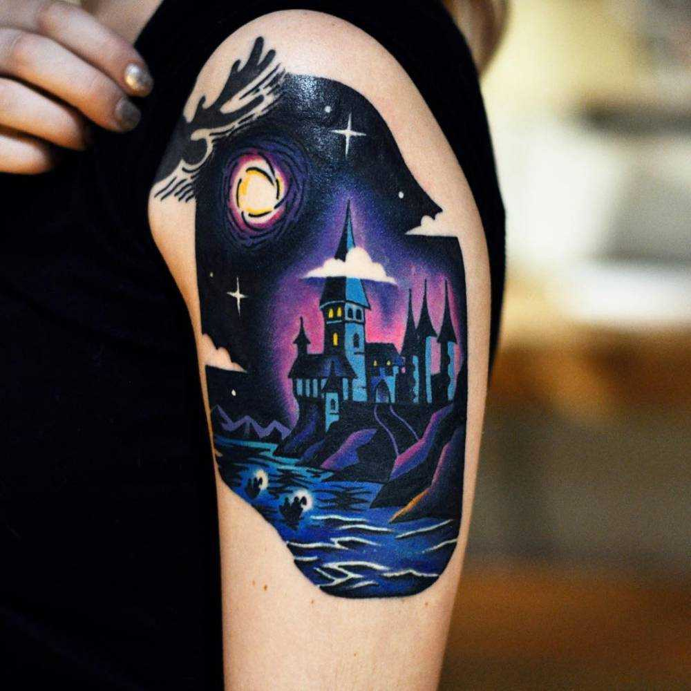 Hogwart's tattoo on the left arm