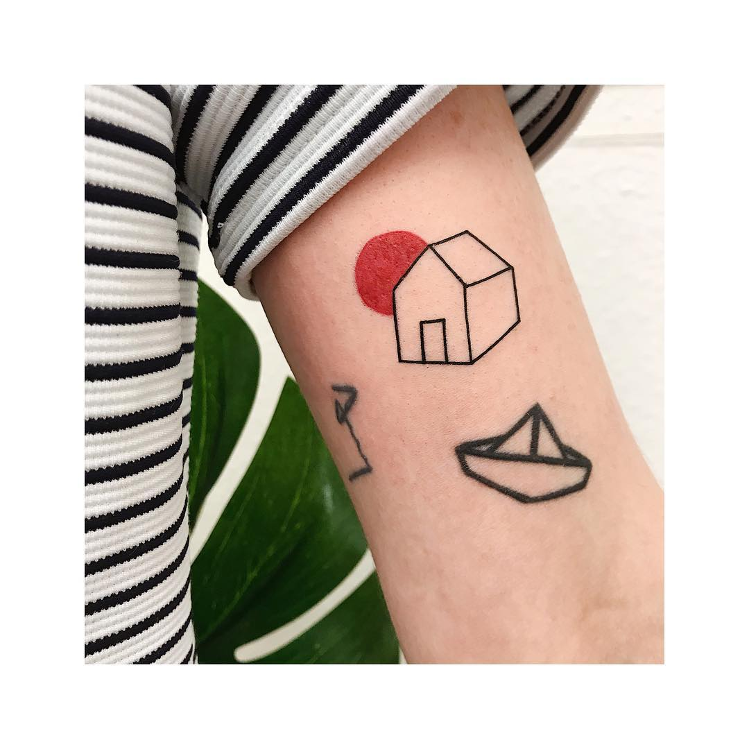 House and paperboat tattoos