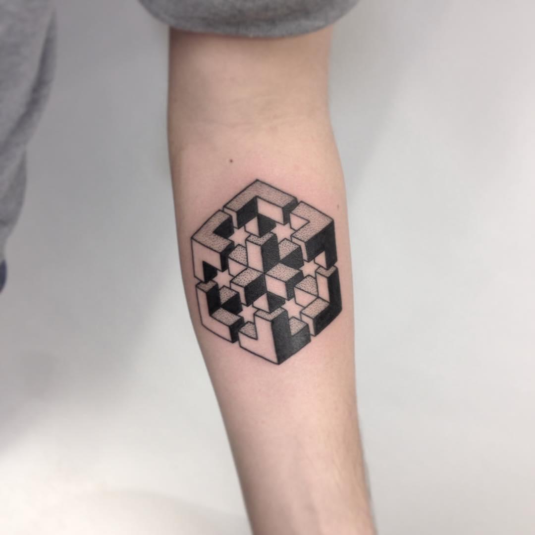 Impossible geometric figure tattoo
