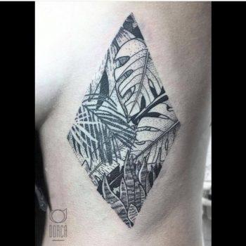Jungle scenery tattoo by Dorca Borca