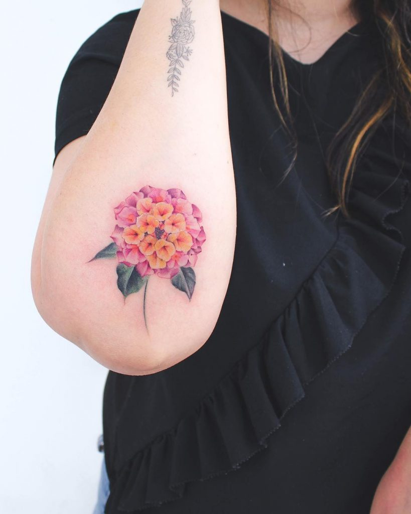 Lantana flower tattoo