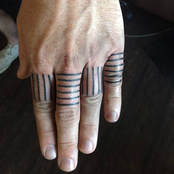 Lines tattoos on fingers