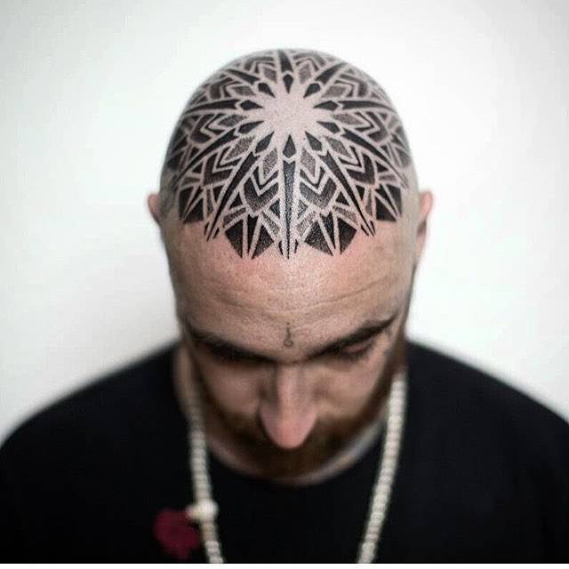 Mandala tattoo on the head