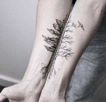 Matching tree tattoo by Maria Fernandez