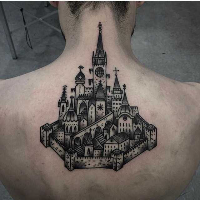 Medieval town tattoo by Andre Castcovil
