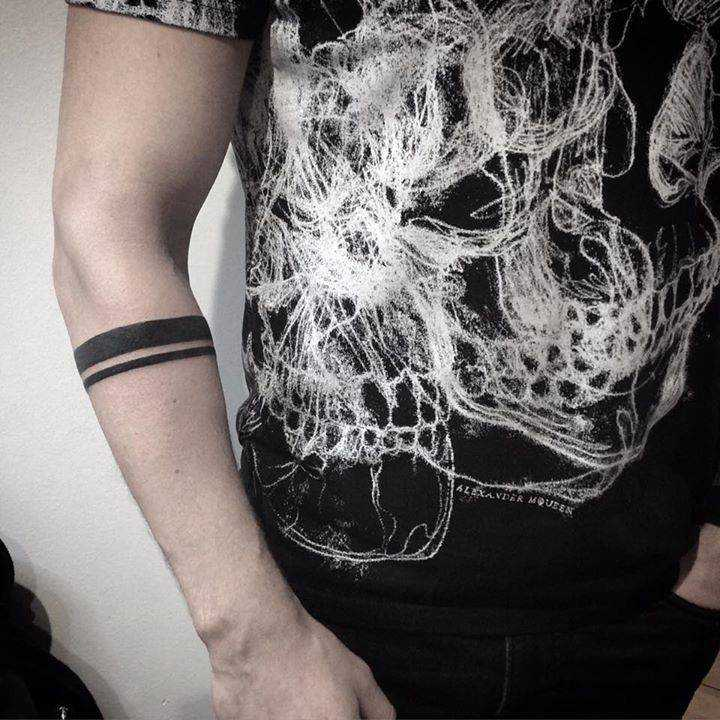 Minimalist armband tattoo on the forearm